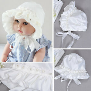 0fc2650721d Baby Girls Sunhat Caps Newborn Kids White Pearl Hat Cap Beanie ...