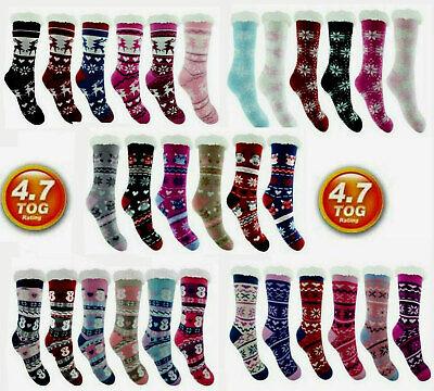 Womens Ladies Thermal Socks Warm Winter Cosy Fleece Lined Bed Socks