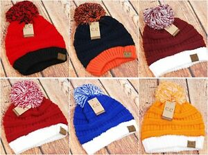 Image is loading CC-Beanie-Two-Tone-Solid-Beanie-Hat-Cap- dc92946f384