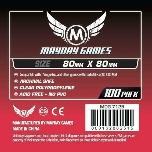 MDG7125 MAYDAY GAMES Square Board Game Card Sleeves Clear Size 80 x 80mm 100ct