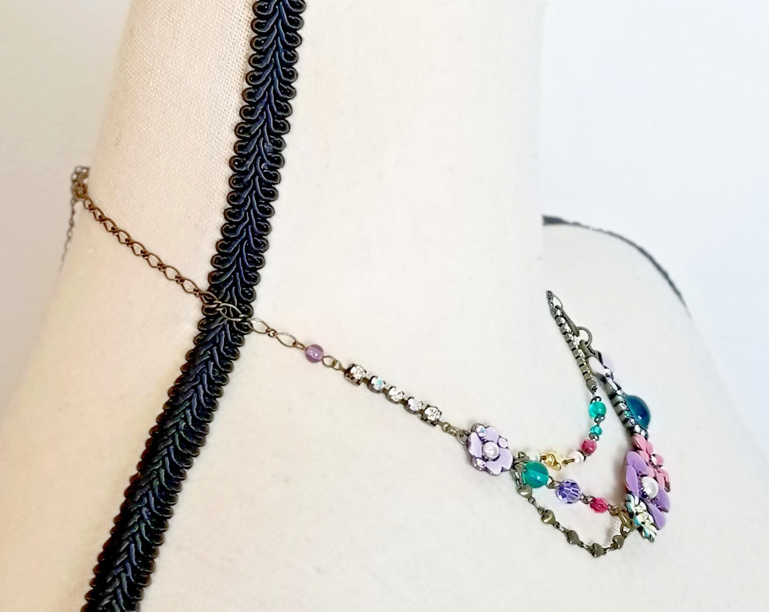 Vintage Anna Sui Flower Crystal Rhinestone Caboch… - image 3