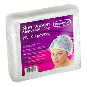 100-Pcs-Disposable-White-Mob-Caps-Hair-Net-Spray-Tanning-Caps