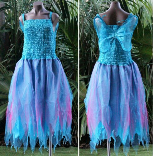 PLUS SIZE Fairy Dress Party Costume with Wings AQUA /& FUCHSIA