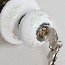 501616H Decorative Door Knob White Ceramic Handle Entrance Lock Latch Privacy