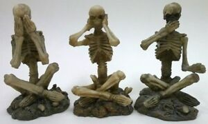 Three-Wise-Skeletons-See-Hear-Speak-No-Evil-Halloween-Skeletal-Bones-Monkeys-NEW