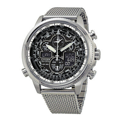 Citizen Navihawk UTC Chronograph Black Dial Stainless Steel Mesh Mens Watch