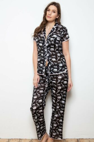 NEW Ladies 100/% Cotton Safari Animals Cottonreal Pyjamas//Loungewear