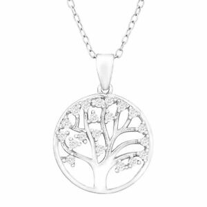 Tree of Love Pendant with Cubic Zirconia in Sterling Silver