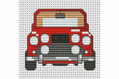 Cross stitch Kits voiture rouge//bleu elethant