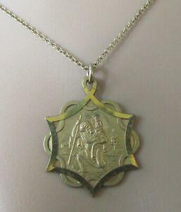 9ct Collar De Oro-Vintage 9ct oro St Christopher Colgante & 9ct Cadena de oro