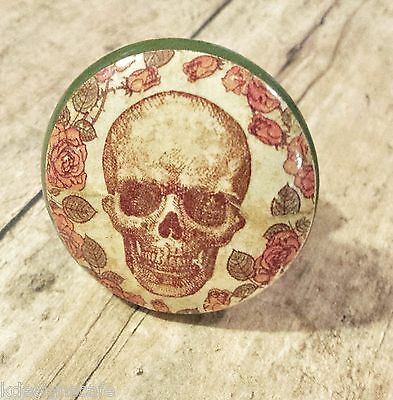 4 Handmade Skull and Hawaiian Flower Knob Drawer Pulls Birch Wood Cabinet Knobs