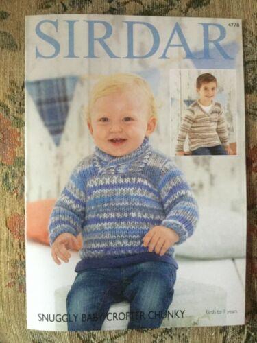Sirdar perfectamente Bebé en Gruesa Tejer patrón 4778 chicos Suéteres 16-26ins