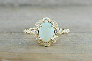 1-25CT-Oval-Cut-Fire-Opal-amp-Diamond-Halo-Vintage-Women-Ring-14k-Yellow-Gold-Over