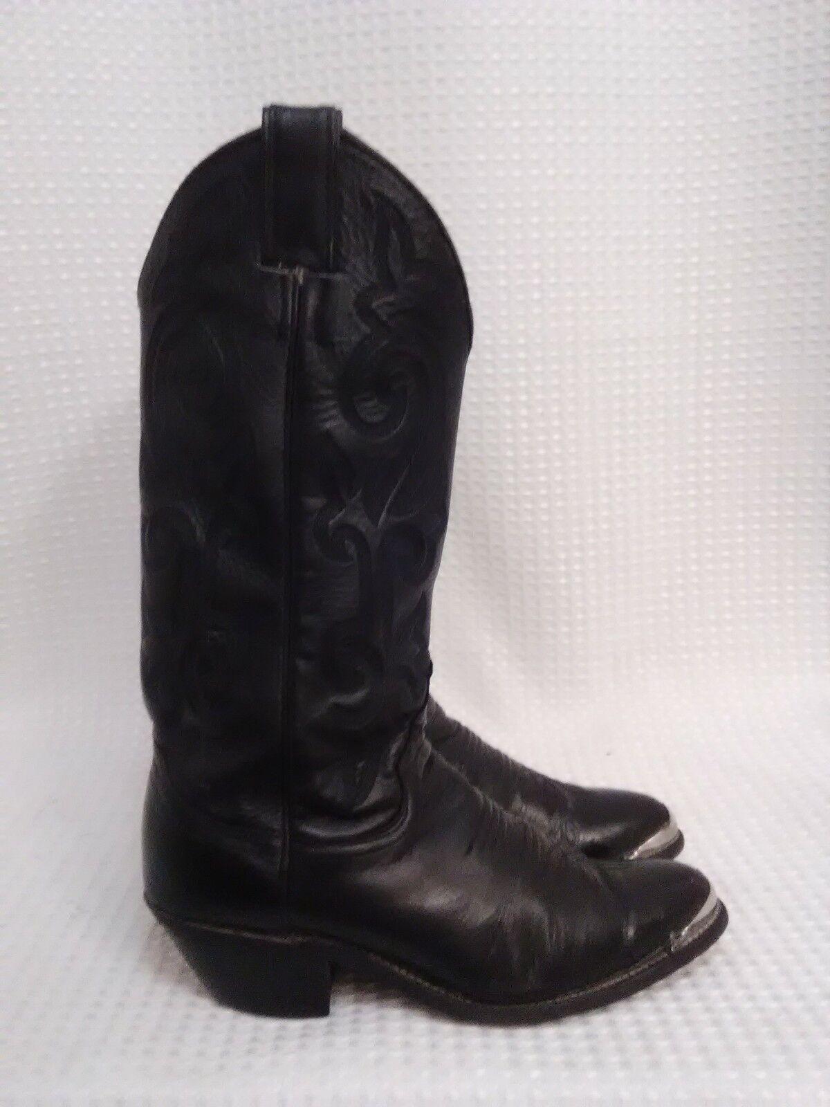 Justin Boots Black London L4911 Cowboy Boots Women Size 6B w silver toe gaurds