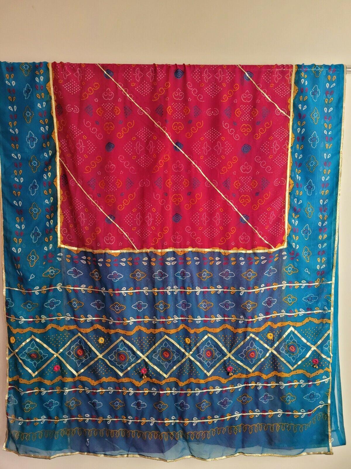 Colourful Sari Saree Indian Chiffon Everyday wear Bandhej Traditional Ethnic