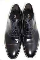 NIB $695 PRADA Black Patent Leather Cap-Toe Men's Casual Oxford Shoes 11.5 US