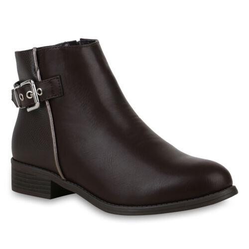 Klassische Damen Stiefeletten Schnallen Boots Leder-Optik 896790 New Look