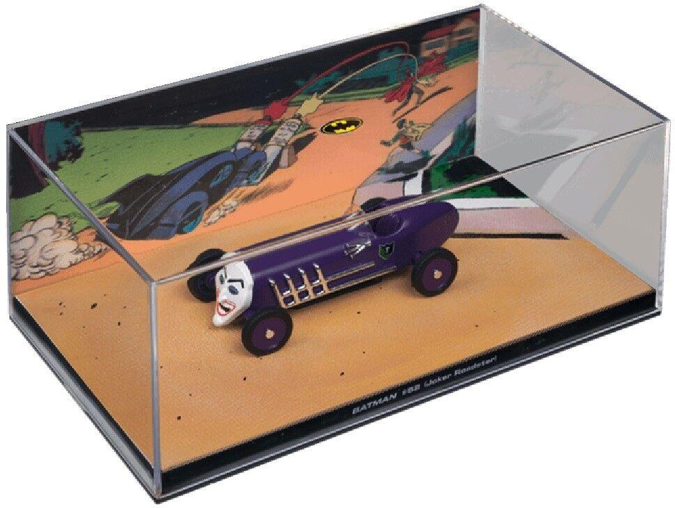 BATMAN Classic Diecast 1 43 Comic JOKER ROADSTER in Plastic Display Case