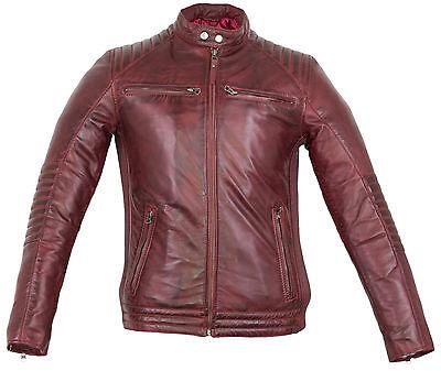 Obligatorisch Herren Bikerjacke In Rot Aus Echtem Leder Gesteppte Schultern Vintage Style
