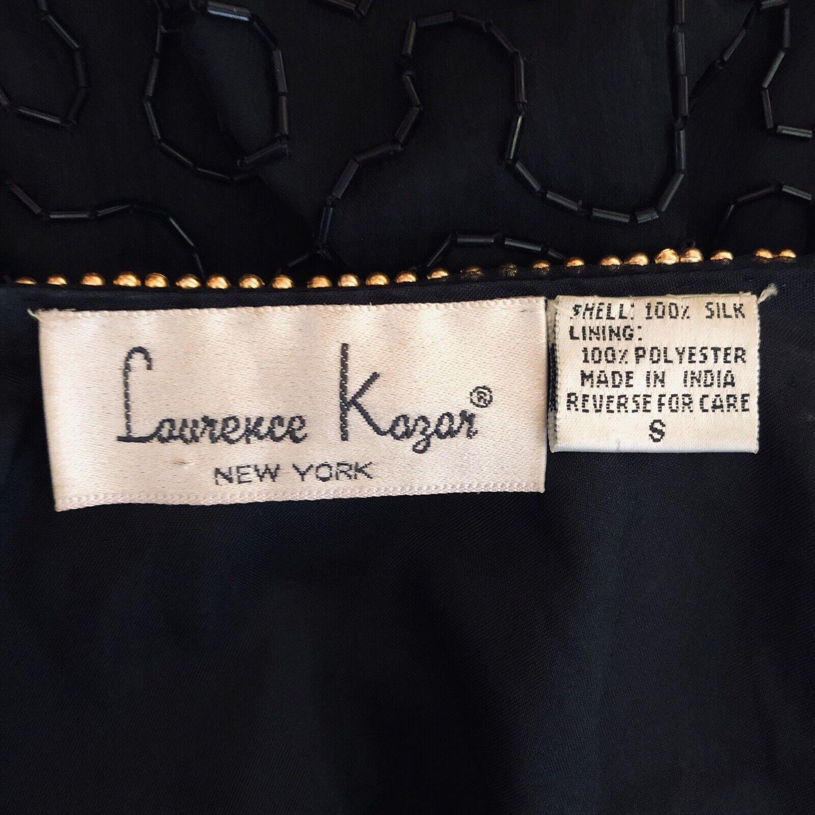 Laurence Kazar Vintage Seta Giacca da Sera Tunica Donna Donna Donna TAGLIA S Perline 195600