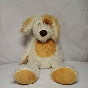 """Ty 2004 9"""" Curly White Tan Brown Beanie Buddy Plush Dog Diggs"""