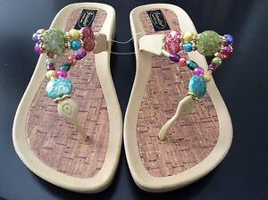 82f86ac5d42c4 GRANDCO DRESSY Beach Pool Thong BLING Color Beads TAN THONG Sandals ...