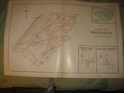 Huge Gorgeous Antique 1903 Greenville Orange County New York Map Rare Fine Nr Careful Calculation And Strict Budgeting Maps, Atlases & Globes