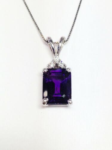 3Ct Emerald Cut Purple Amethyst Diamond Solitaire Pendant 14K White Gold Finish