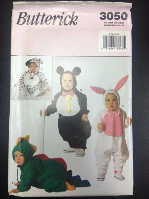 Butterick 3050 Baby Infant Bunny Dinosaur Dog Halloween Costume
