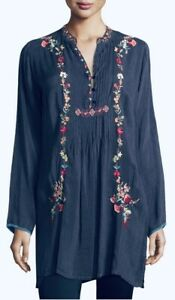 JOHNNY-WAS-Prairi-Vine-Blouse-V-Neck-Tunic-EMBROIDERED-Long-Sleeve-S-268