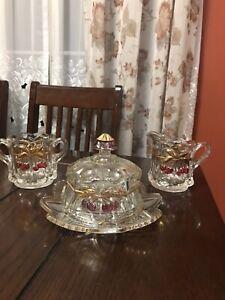Vintage-Mosser-Glass-Cherries-amp-Gable-24k-Gold-Trimmed-Dishes