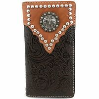 Western Cowboys Mens Tooled Pu Leather Brown Longhorn Concho Bifold Wallet