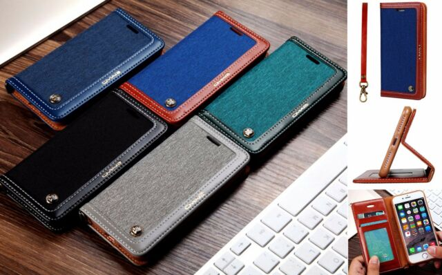 Denim Leather Wallet Stand Case W Strap Case For iPhone 6/6S 6+/ 6S+ 7 / 7Plus