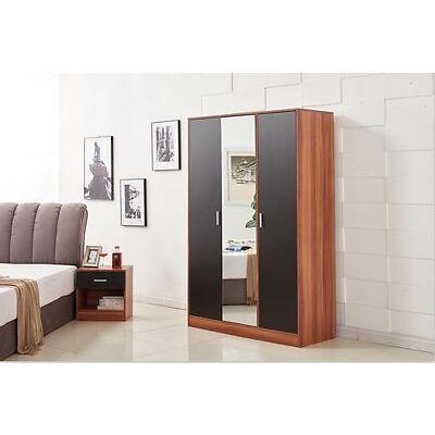 Yakoe Modern Design Bedroom Furniture 3 Door Mirrored Wardrobe Black/Walnut