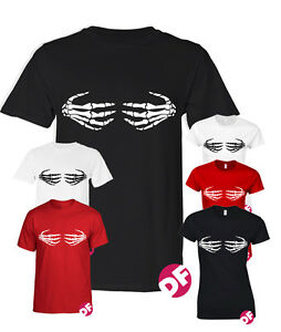 Bloody Hands T-shirt Halloween Scary Handprints Boobs Funny Joke Womens Ladies