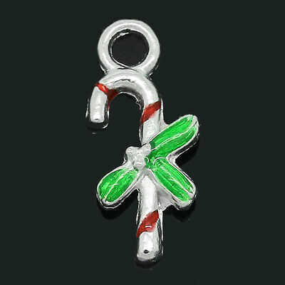 10PCs Charm Pendants Enamel Christmas Candy Canes Silver Plated 17mmx8mm