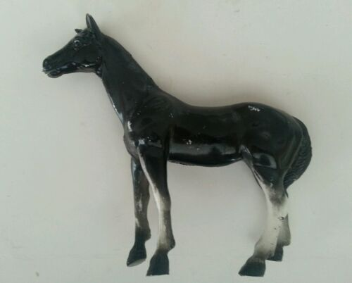 "1975 Vintage Imperial Toy Horse Figurine Hard Rubber Black 5"" Hong Kong"