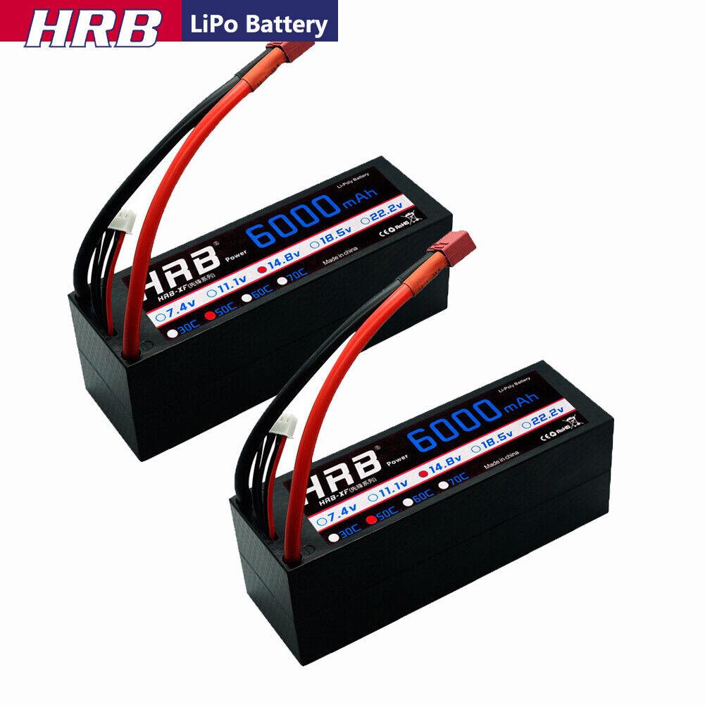 2x HRB 14.8V 6000mAh 4S LiPo Battery Hard case 50C-100C Deans Plug