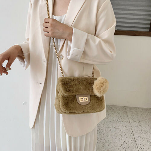 Women Plush Handbag Shoulder Cross Body Bag Tote Messenger Chain Satchel Purse