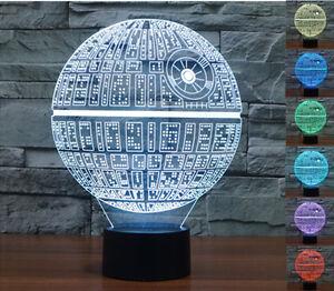 das bild wird geladen star wars todesstern 3d led nacht licht noten - Star Wars Todesstern Lampe