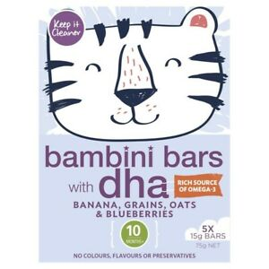 Keep It Cleaner Banana Grains Oats & Blueberries Bambini Bars With Dha 5 pack