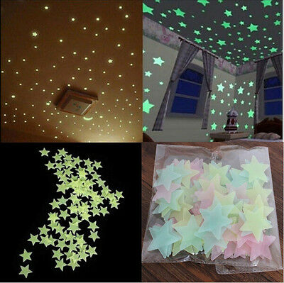 Stylish 100Pcs 3D Star Vinyl Art  Glow In The Dark Wall Sticker Decal Home Decor
