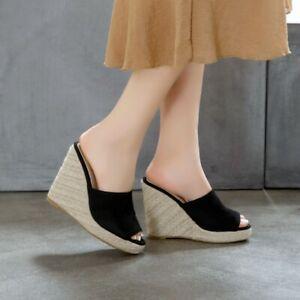 Womens-Wedge-High-Heels-Platform-Mules-Sandals-Lady-Open-Toe-Casual-Slipper-Shoe