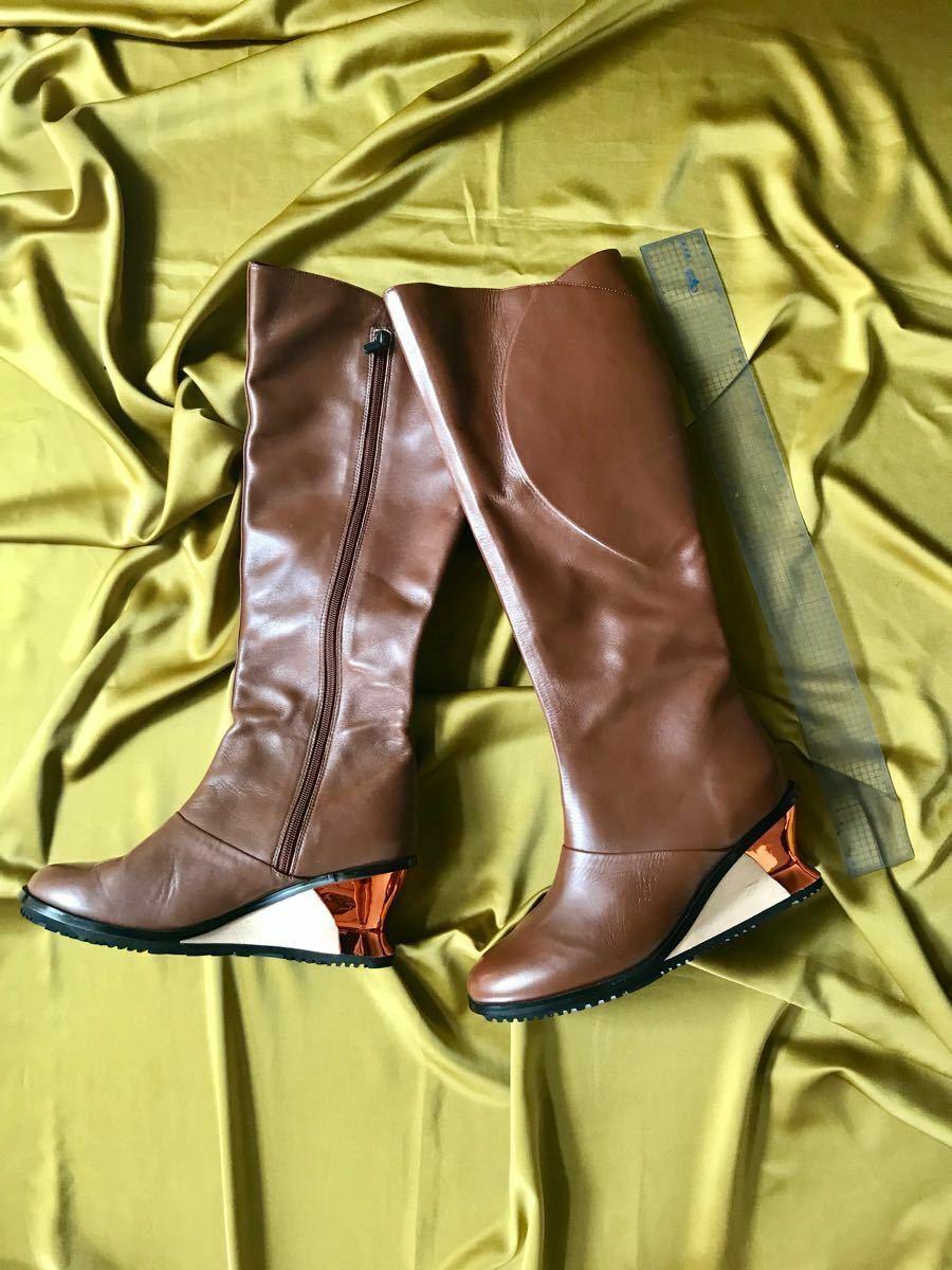 ISSEY MIYAKE Long Stiefel wedge sole Genuine leather Cowhide Größe   US8