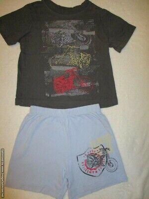 Boys PJs Size 0-2 Summer 2pc Short Sleeve Pyjamas Grey Non Stop Fun 752