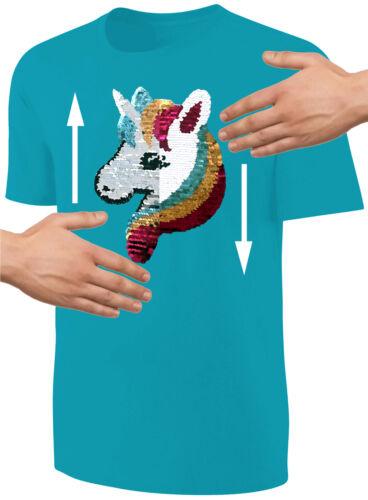 Baby Mädchen T-Shirt Wende Pailletten Glitzer Einhorn Streichel Shirt Türkis