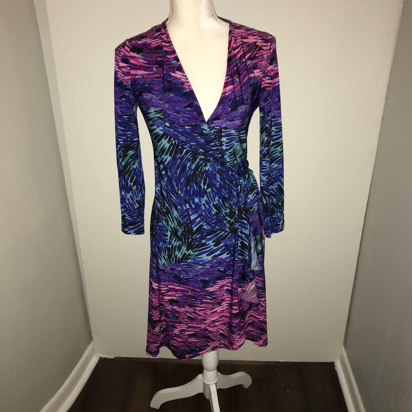 BCBGMaxAzria Adele Swirl Printed Pattern Quarter Sleeve Stretch Wrap Dress XS