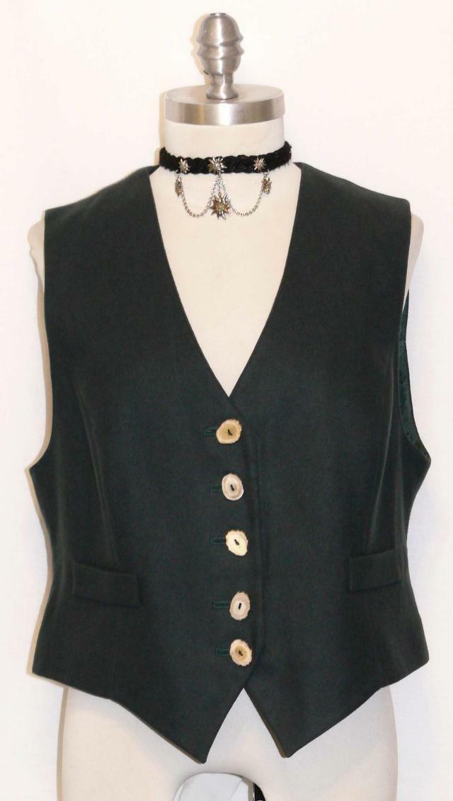 GREEN  WOOL  German Women Winter Hunting Shooting Riding Dress Suit VEST 6 8 S