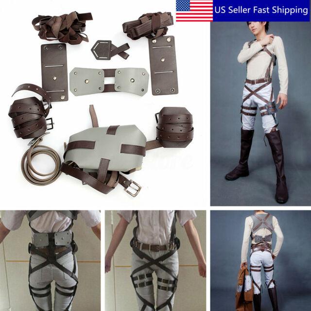 Attack on Titan Shingeki no Kyojin Leather skirt hookshot belt Costume Cos Props