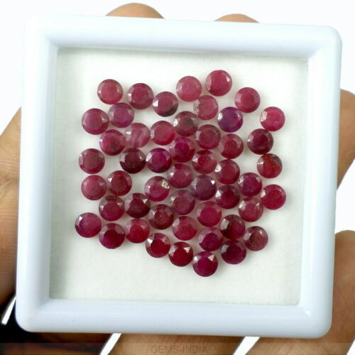 50 Pc// Round Pear Faceted Natural Mozambique Red Ruby Calibrated jewelry Gems